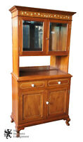 European Antiqued Mahogany Marquetry Inlay China Hutch Mirrored Ball & Claw Foot