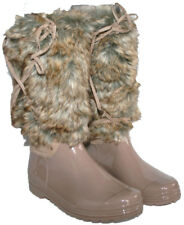 LADIES NUDE COLOUR FASHION WELLY WITH FUR LEG AND LACE TRIM SIZE 4