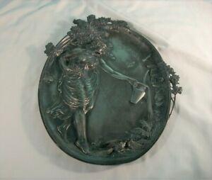 Vintage Cast Metal Art Nouveau Platter, Woman Watering Plants
