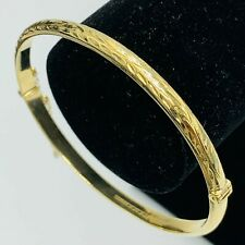 Solid 9ct 375 Yellow Gold Hinged Engraved Foliate Motif Bangle L131