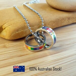 Rainbow Necklace, Two Rings Promise for LGBT, Gay and Lesbian Couples *SYDNEY*