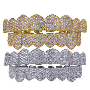 18K Gold Plated Crystal 3A Zircon CZ Teeth Grills Mouth Caps Teeth Hip Hop