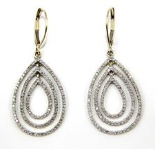 Round Diamond Pear Cluster Lady's Drop Dangle Earrings 14K Yellow Gold 1.10Ct