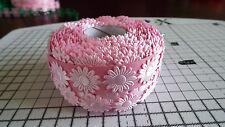 2m -Pink, Daisy Flower Motif - Applique,Trimmings,Wedding -  Satin Lace Ribbon