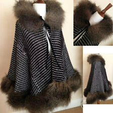 NEW RIVER ISLAND BLACK KNIT MONGOLIAN FUR SWING JACKET COAT CAPE  SELL-OUT £179