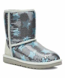NIB UGG Classic Short Sequin Stars Boots Toddler 9 Rare! Silver Blue