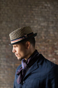 Max Men's Women's Summer Retro Black Brown Straw Porkpie Hat