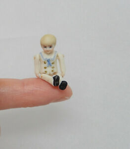 Vintage Teeny Tiny Porcelain Jointed Little Boy Doll Artisan Dollhouse Miniature