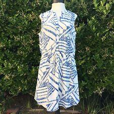 NWT Gap Sleeveless Shirtdress Dress Off White Blue SZ L