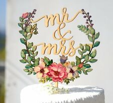 Mr & Mrs Wedding Cake Topper Hand Printed w Floral Wreath Made of Wood #156