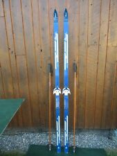 """VINTAGE Wooden 78"""" Skis Has Bindings + Poles Great For Decoration!!!"""