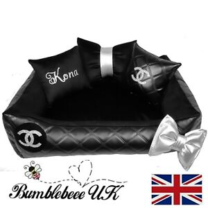Personalised dog cat bed smallblack silver vinyl washable velvet chihuahua
