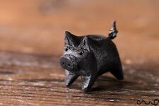 Handmade Hand Carved Black Little Wooden Pig Animal Crafts Home Decor Farm Gift