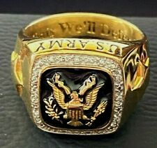 """US ARMY RING ~ DANBURY MINT ~ SIZE 11 - REAL DIAMONDS! THIS WE""""LL DEFEND!"""