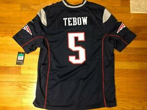 NWT RARE Nike TIM TEBOW #5 New England Patriots Jersey Mens Adult XL Blue