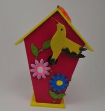 Wood Bird House Birdhouse Pink Yellow Flowers Hummingbird Hangs Ribbon 7.375""