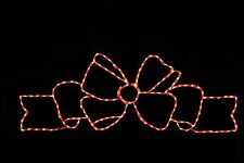 6 Foot Width LED metal wire frame outdoor Christmas display Fancy Red Bow