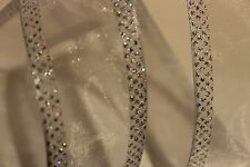 "Pretty WhitE / Clear Ribbon with Silver Glitter Wired 1.5"" wide - BY THE YARD!"