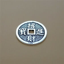 925 Sterling Silver Chinese Fortune Lucky Coin Bead Feng Shui Coin