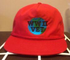 WWII World War 2 Vet Hat. Adjustable Cap. Vintage Red