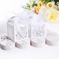 10Pcs Love Bird Heart Favor Ribbon Gift Box Candy Boxes Case Party Wedding Decor