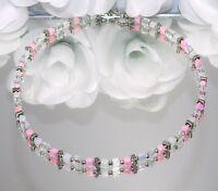 Halskette Kette Würfelkette Würfel Cube rosa rose weiß silber filigran 127a