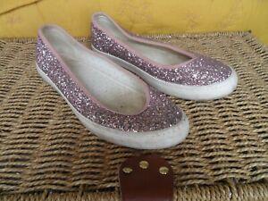 Next ladies' pink glitter canvas ballet shoes - size 6
