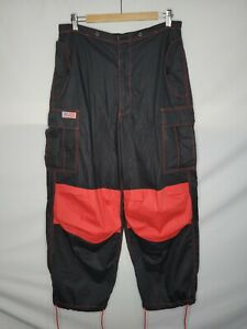 Vintage UFO Cargo Pants Men's Size Medium Black Red Rave Parachute