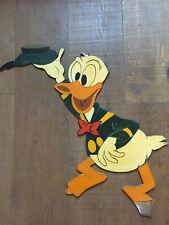 Grand Panneau Bois Peint Art Forain Walt Disney 1970 Populaire Donald