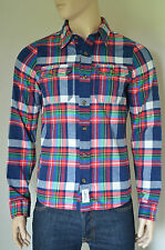 NEW Abercrombie & Fitch Railroad Notch Flannel Shirt Navy Blue & Red Plaid M