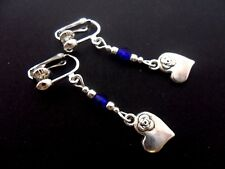 A PAIR TIBETAN SILVER & BLUE CRYSTAL BEAD DANGLY HEART CLIP ON  EARRINGS. NEW.
