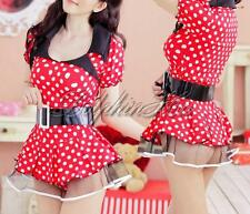 Lace Lingerie Adult Women Polka Dot Minnie Mouse Costume Outfit Micro Mini Dress