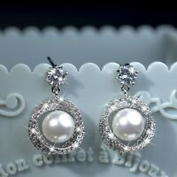18k white gold made with swarovski crystal infinity pearl stud dangle earrings