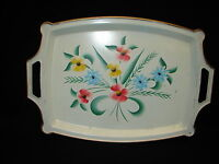 Retro Vintage Tole Ware Metal Tray with Hand Painted Flowers mid century