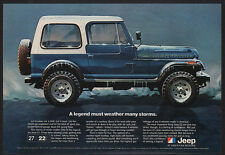 1981 JEEP CJ RENEGADE SUV Blue 4X4 - 4WD - Snow - Ice -Weather Storms VINTAGE AD