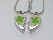 "CREMATION JEWELLERY URN PENDANT PAIR OF NECKLACES""FOUR LEAF CLOVER HEART MIZPAH"""