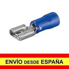50x Terminales Conectores Faston Hembra 6,3mm (16-14) Preaislado Azul a1184