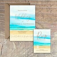 Personalised Destination Beach Wedding Invitations packs of 10