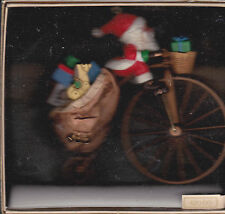 1982 Hallmark Cycling Santa Handcrafted Ornament NIB NEW