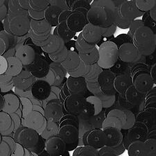 6mm Flat SEQUIN PAILLETTES ~ Opaque BLACK Shiny ~ Round Disc ~ Made in USA