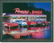 "Rosie'S Diner Drive In Cars Hot Rods Muscle Beach Surfboard 16""X12.5"" Metal Sign"