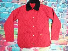 B9 Ladies Padded Barbour Jacket Red With Black Collar Size 10 VGC