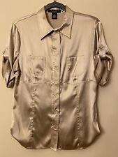 Arden B Luxe short sleeve silk beige Blouse size L