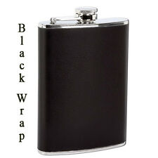 Solid Black Wrap Alcohol 8 oz Stainless Steel Flask Screw Cap Hip Pocket Whiskey
