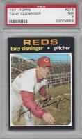 1971 Topps baseball card #218 Tony Cloninger, Cincinnati Reds graded PSA 7 NM
