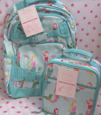 NEW Pottery Barn Kids LARGE Aqua Mermaid Backpack  + CLASSIC LUNCH BAG ! #7