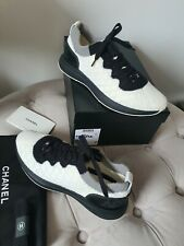 Chanel Knit Trainers Sneakers Black & White Size 39 UK 6