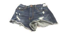 Hollister Femmes Délavé Foncé Bleu Jean Délavé Vintage Short Taille 1