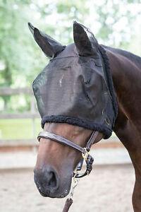Harry`s Horse Fliegenmaske, Fliegenschutzhaube schwarz m. Fell  m Ohren M