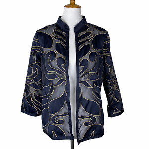Chico's Travelers Womens Sheer Jacket Top Blue Gold Open Front Sz. 1 (M) NWD